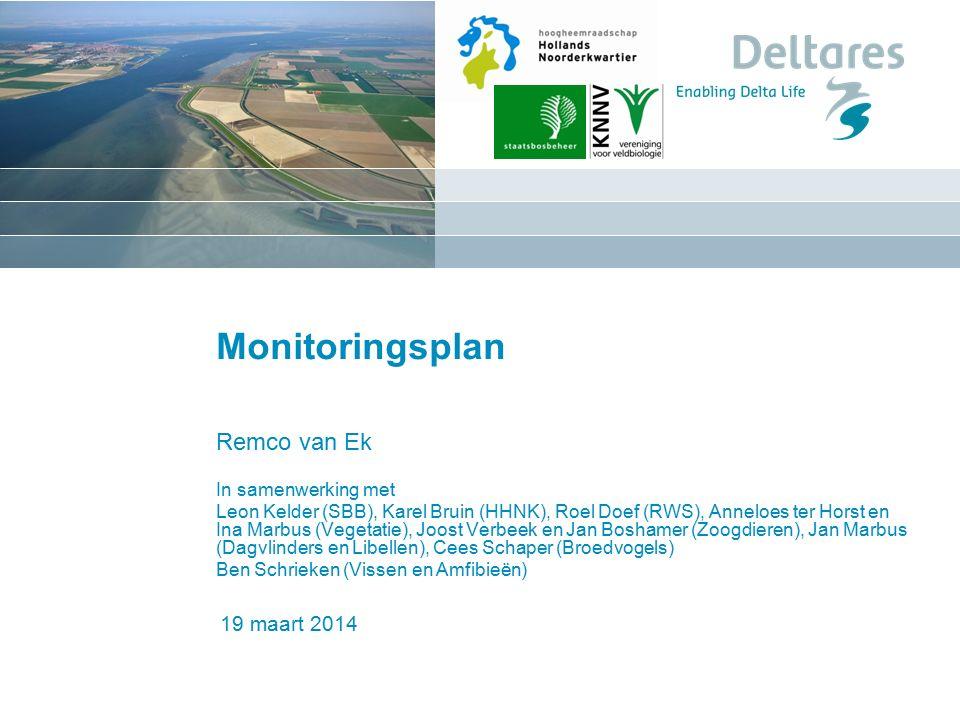 1 juni 2016 Monitoringsplan Remco van Ek In samenwerking met Leon Kelder (SBB), Karel Bruin (HHNK), Roel Doef (RWS), Anneloes ter Horst en Ina Marbus