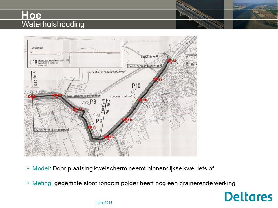 1 juni 2016 Hoe Waterhuishouding Model: Door plaatsing kwelscherm neemt binnendijkse kwel iets af Meting: gedempte sloot rondom polder heeft nog een d