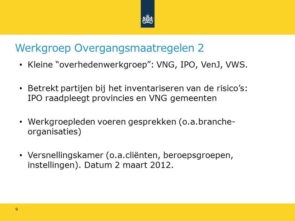 Werkgroep Overgangsmaatregelen 2 Kleine overhedenwerkgroep : VNG, IPO, VenJ, VWS.