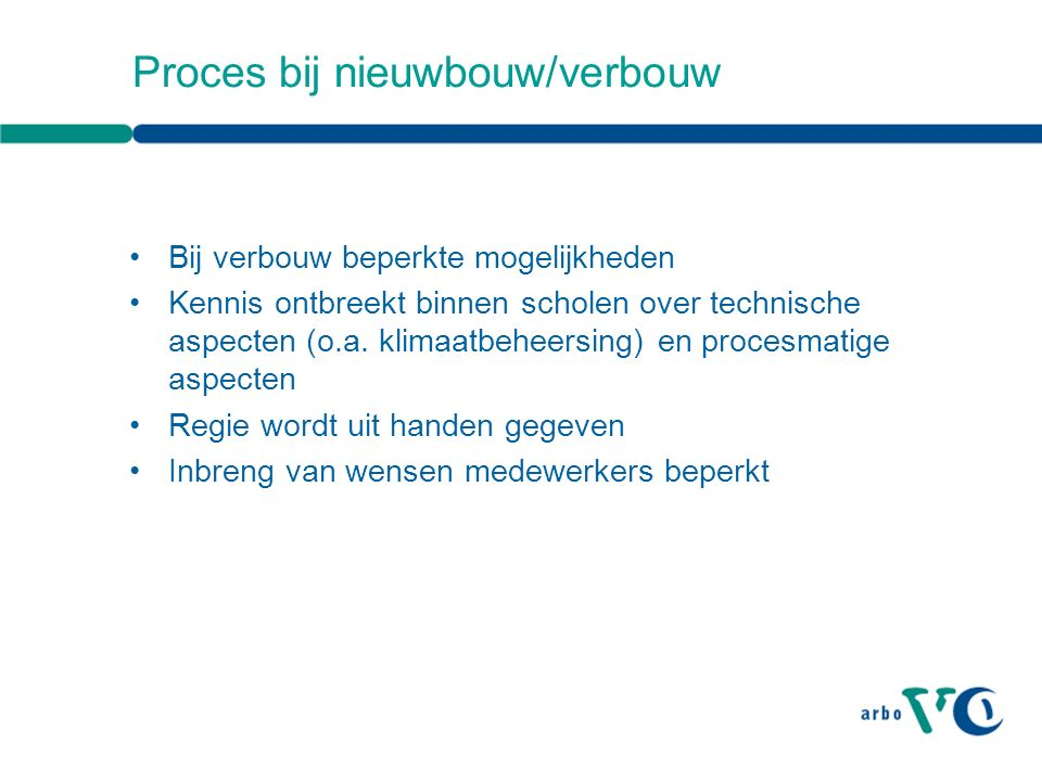 Proces bij nieuwbouw/verbouw Bij verbouw beperkte mogelijkheden Kennis ontbreekt binnen scholen over technische aspecten (o.a.