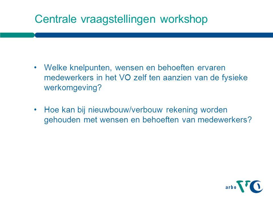 Centrale vraagstellingen workshop Welke knelpunten, wensen en behoeften ervaren medewerkers in het VO zelf ten aanzien van de fysieke werkomgeving.
