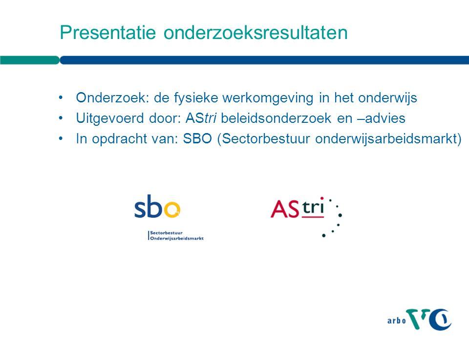 Presentatie onderzoeksresultaten Onderzoek: de fysieke werkomgeving in het onderwijs Uitgevoerd door: AStri beleidsonderzoek en –advies In opdracht van: SBO (Sectorbestuur onderwijsarbeidsmarkt)