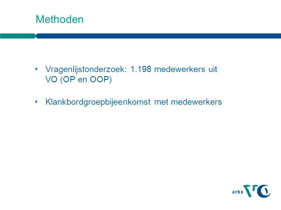 Methoden Vragenlijstonderzoek: 1.198 medewerkers uit VO (OP en OOP) Klankbordgroepbijeenkomst met medewerkers