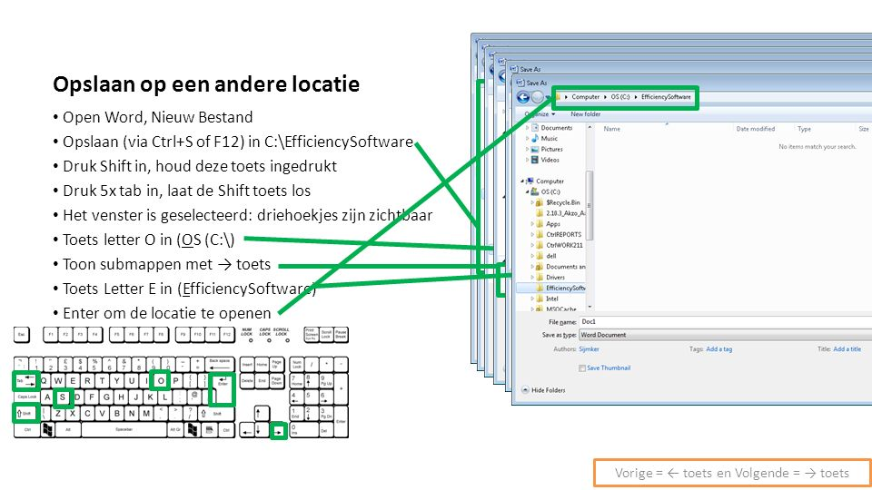 Opslaan op een andere locatie Open Word, Nieuw Bestand Opslaan (via Ctrl+S of F12) in C:\EfficiencySoftware Druk Shift in, houd deze toets ingedrukt D