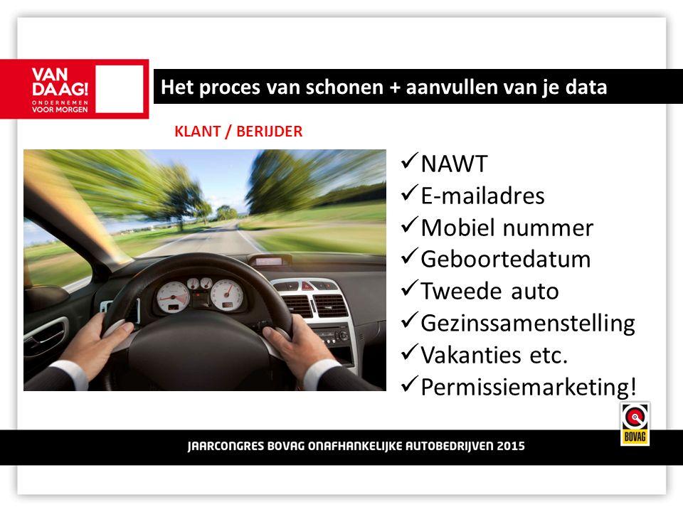 Het proces van schonen + aanvullen van je data KLANT / BERIJDER NAWT E-mailadres Mobiel nummer Geboortedatum Tweede auto Gezinssamenstelling Vakanties etc.