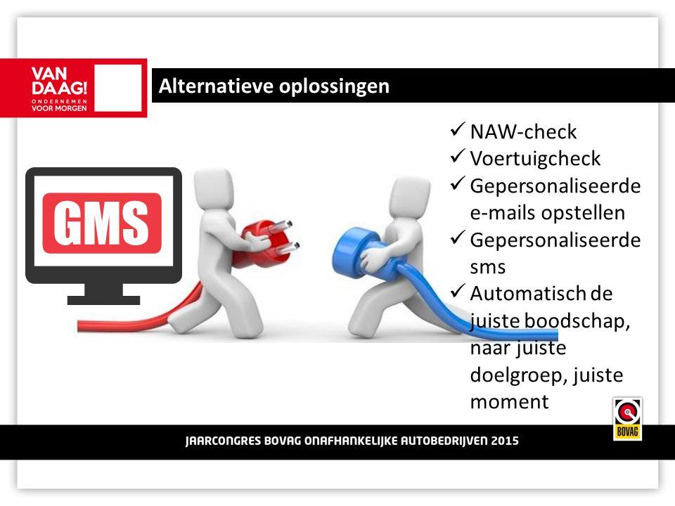 Alternatieve oplossingen NAW-check Voertuigcheck Gepersonaliseerde e-mails opstellen Gepersonaliseerde sms Automatisch de juiste boodschap, naar juiste doelgroep, juiste moment
