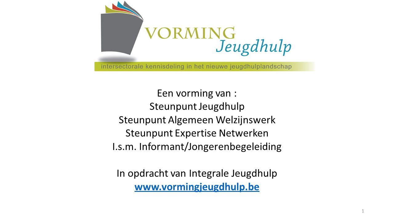 Een vorming van : Steunpunt Jeugdhulp Steunpunt Algemeen Welzijnswerk Steunpunt Expertise Netwerken I.s.m. Informant/Jongerenbegeleiding In opdracht v