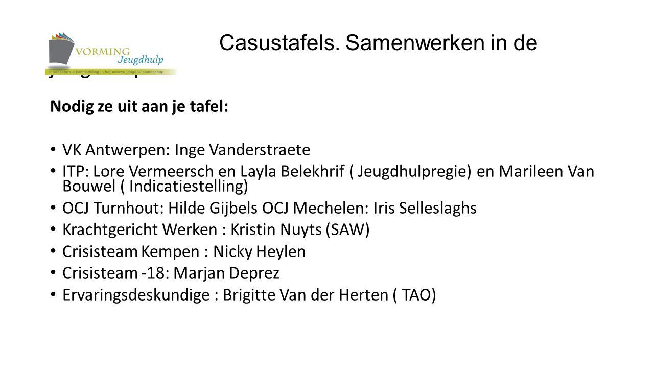 Nodig ze uit aan je tafel: VK Antwerpen: Inge Vanderstraete ITP: Lore Vermeersch en Layla Belekhrif ( Jeugdhulpregie) en Marileen Van Bouwel ( Indicat