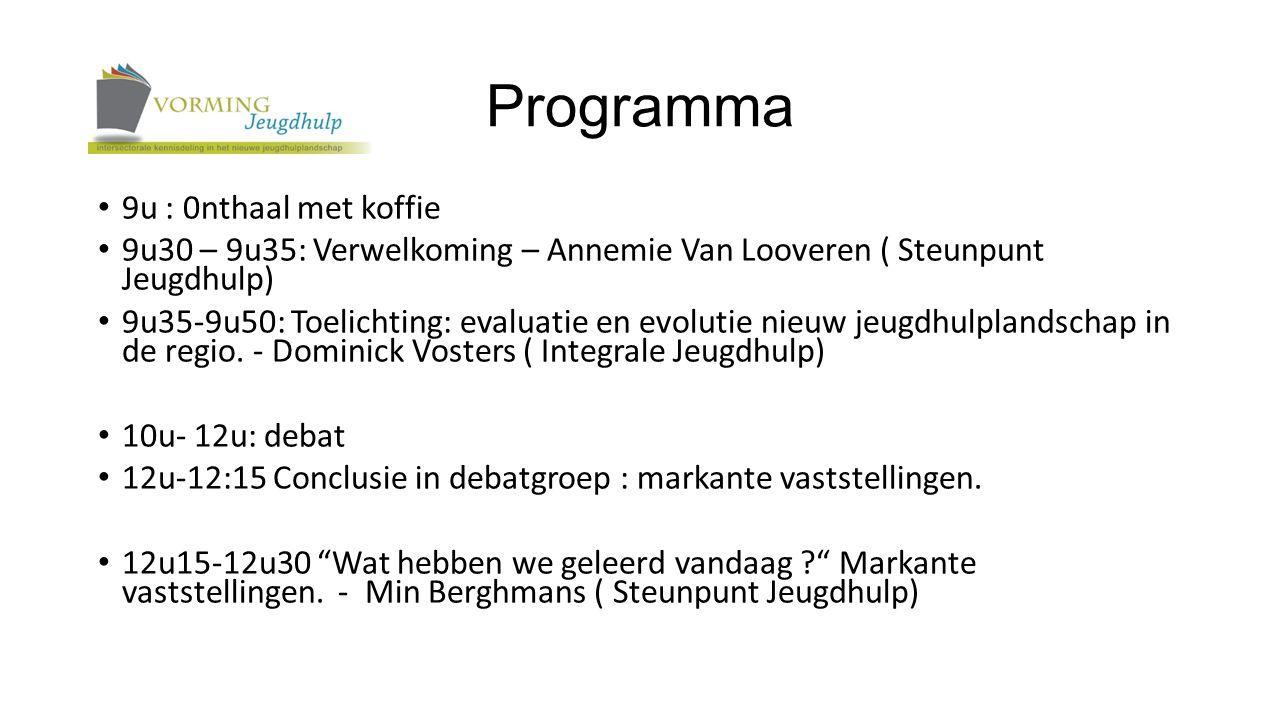 Programma 9u : 0nthaal met koffie 9u30 – 9u35: Verwelkoming – Annemie Van Looveren ( Steunpunt Jeugdhulp) 9u35-9u50: Toelichting: evaluatie en evolutie nieuw jeugdhulplandschap in de regio.