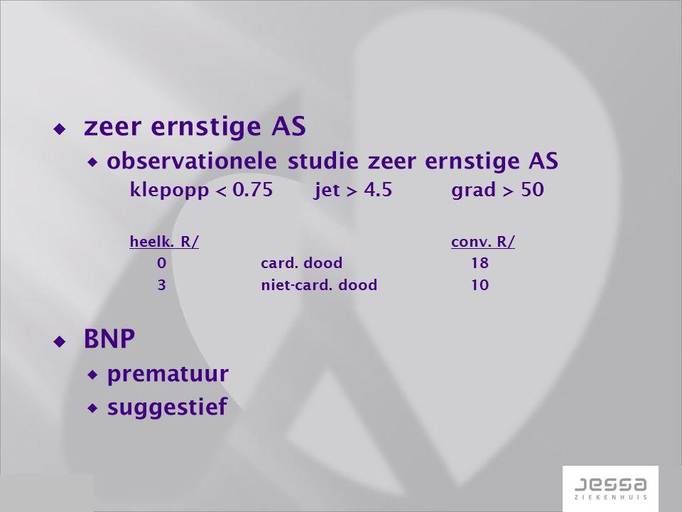  zeer ernstige AS  observationele studie zeer ernstige AS klepopp 4.5grad > 50 heelk.