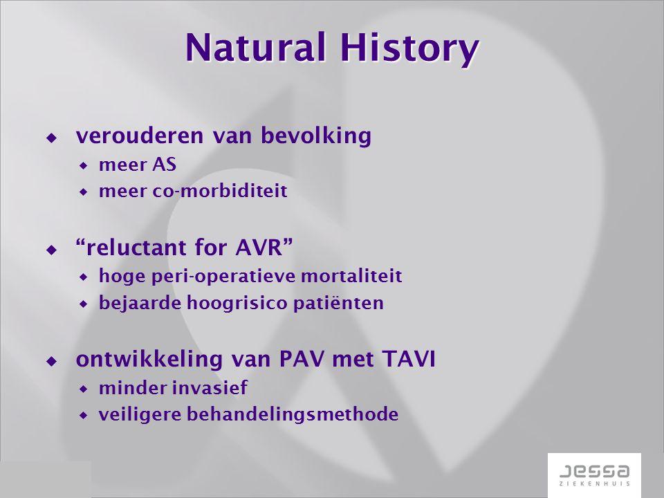 Natural History  verouderen van bevolking  meer AS  meer co-morbiditeit  reluctant for AVR  hoge peri-operatieve mortaliteit  bejaarde hoogrisico patiënten  ontwikkeling van PAV met TAVI  minder invasief  veiligere behandelingsmethode
