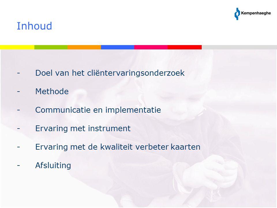 Doel van het cliëntervaringsonderzoek Doel is kwaliteitsverbetering van zorg en dienstverlening Twee vraagstellingen: 1.Hoe waarderen bewoners en vertegenwoordigers van de sector Z&D van Kempenhaeghe de kwaliteit van de ontvangen zorg en dienstverlening.