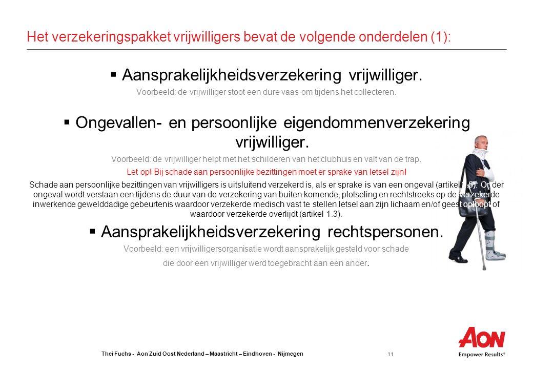Thei Fuchs - Aon Zuid Oost Nederland – Maastricht – Eindhoven - Nijmegen 11 Het verzekeringspakket vrijwilligers bevat de volgende onderdelen (1):  Aansprakelijkheidsverzekering vrijwilliger.