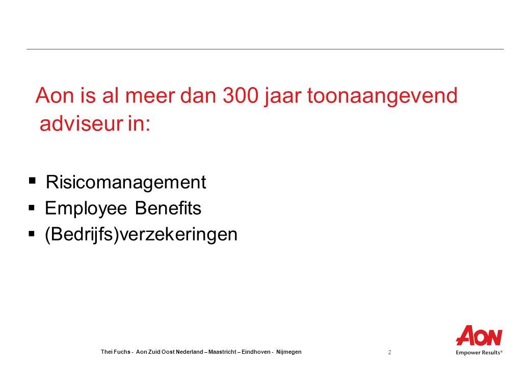 Thei Fuchs - Aon Zuid Oost Nederland – Maastricht – Eindhoven - Nijmegen 2 Aon is al meer dan 300 jaar toonaangevend adviseur in:  Risicomanagement  Employee Benefits  (Bedrijfs)verzekeringen