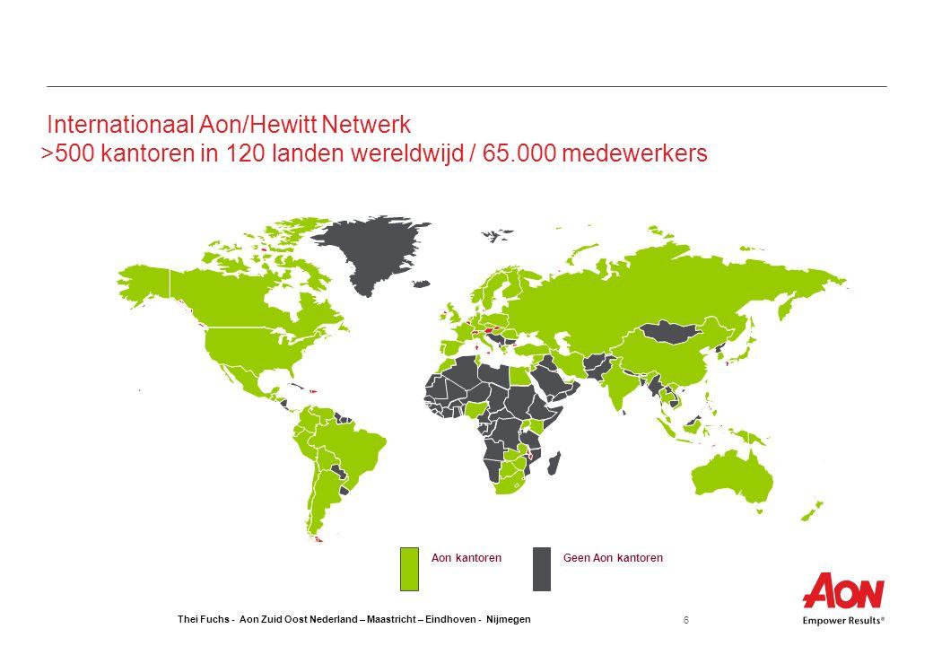 Thei Fuchs - Aon Zuid Oost Nederland – Maastricht – Eindhoven - Nijmegen 6 Internationaal Aon/Hewitt Netwerk >500 kantoren in 120 landen wereldwijd /