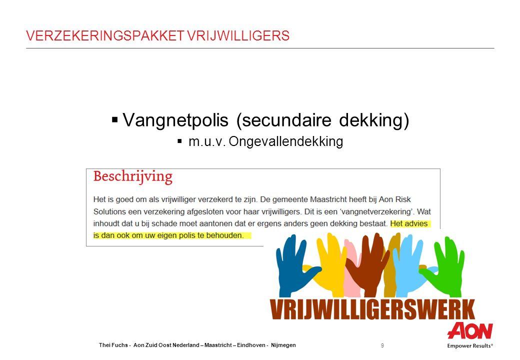 Thei Fuchs - Aon Zuid Oost Nederland – Maastricht – Eindhoven - Nijmegen 9 VERZEKERINGSPAKKET VRIJWILLIGERS  Vangnetpolis (secundaire dekking)  m.u.