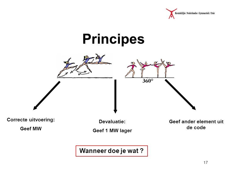 17 Principes Correcte uitvoering: Geef MW Devaluatie: Geef 1 MW lager Geef ander element uit de code Wanneer doe je wat ?