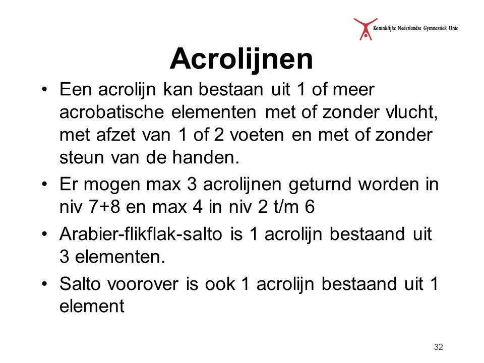 Acrolijnen Een acrolijn kan bestaan uit 1 of meer acrobatische elementen met of zonder vlucht, met afzet van 1 of 2 voeten en met of zonder steun van