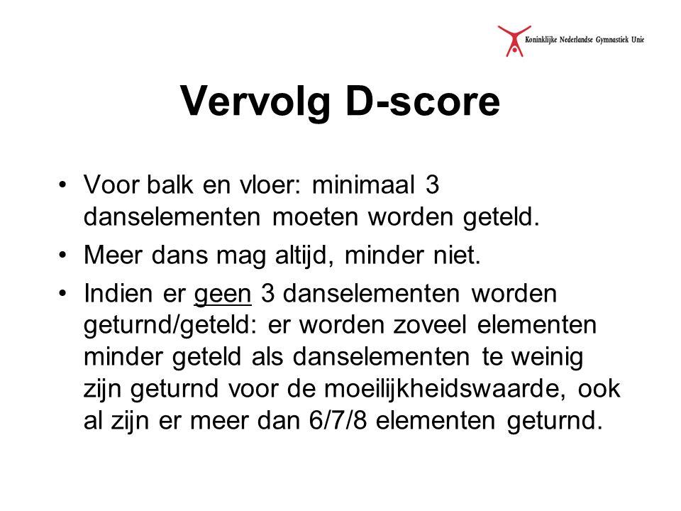 Vervolg D-score Voor balk en vloer: minimaal 3 danselementen moeten worden geteld. Meer dans mag altijd, minder niet. Indien er geen 3 danselementen w