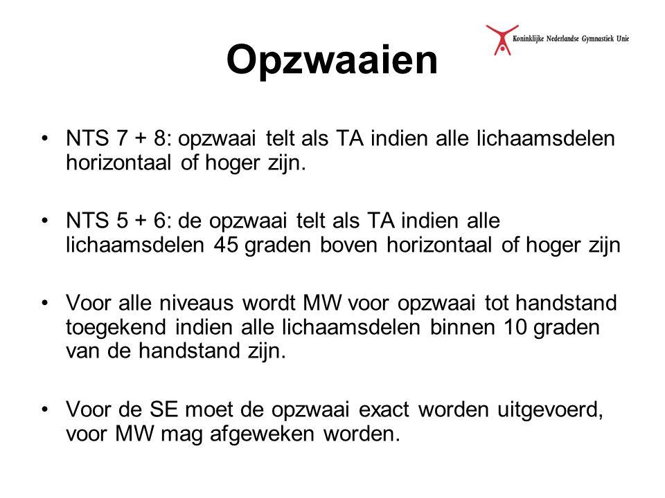 Opzwaaien NTS 7 + 8: opzwaai telt als TA indien alle lichaamsdelen horizontaal of hoger zijn. NTS 5 + 6: de opzwaai telt als TA indien alle lichaamsde