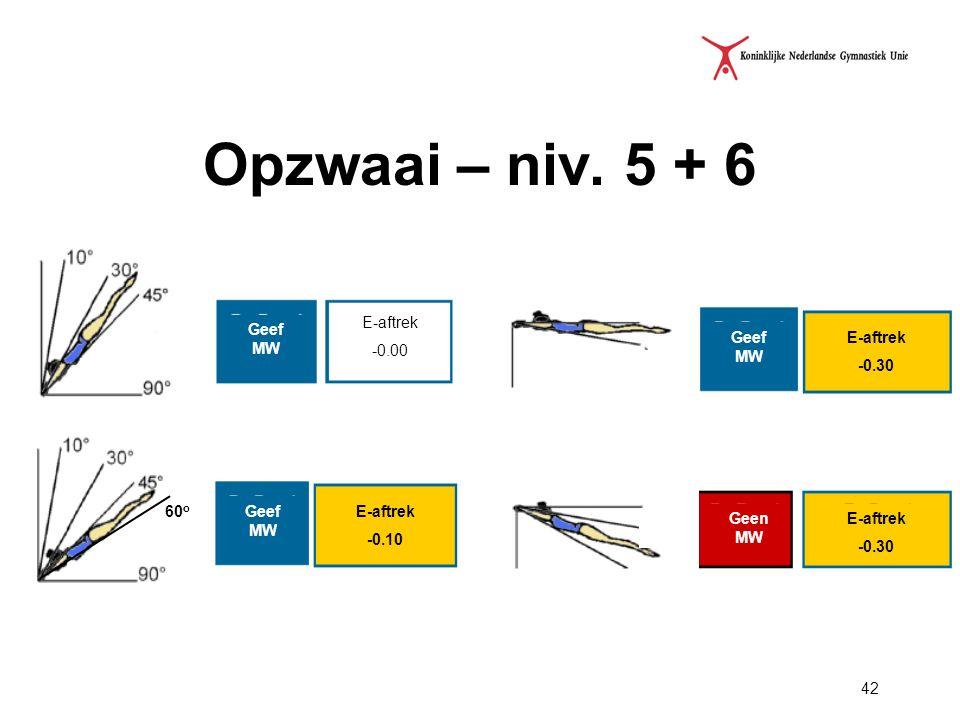 42 Opzwaai – niv. 5 + 6 60 o E-aftrek -0.00 Geef MW E-aftrek -0.10 Geef MW E-aftrek -0.30 E-aftrek -0.30 Geen MW