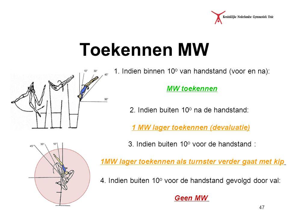 47 Toekennen MW 1. Indien binnen 10 o van handstand (voor en na): MW toekennen 2. Indien buiten 10 o na de handstand: 1 MW lager toekennen (devaluatie