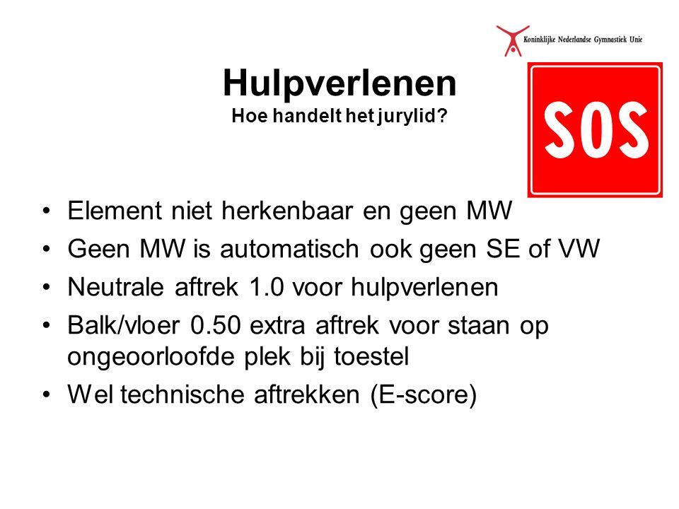 Hulpverlenen Hoe handelt het jurylid? Element niet herkenbaar en geen MW Geen MW is automatisch ook geen SE of VW Neutrale aftrek 1.0 voor hulpverlene