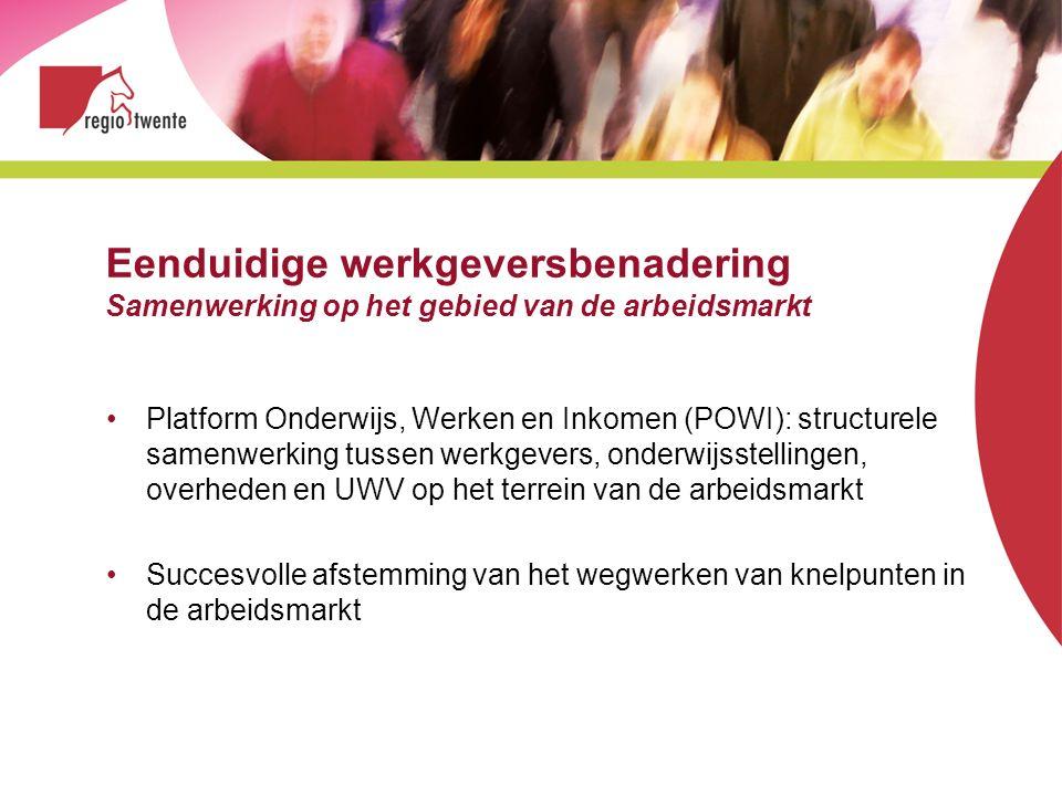 Eenduidige werkgeversbenadering Samenwerking op het gebied van de arbeidsmarkt Platform Onderwijs, Werken en Inkomen (POWI): structurele samenwerking