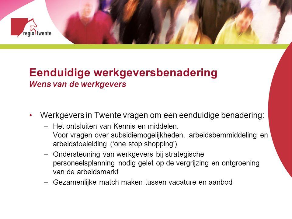 Eenduidige werkgeversbenadering Wens van de werkgevers Werkgevers in Twente vragen om een eenduidige benadering: –Het ontsluiten van Kennis en middele