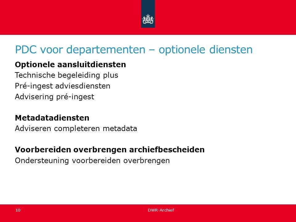 PDC voor departementen – optionele diensten Optionele aansluitdiensten Technische begeleiding plus Pré-ingest adviesdiensten Advisering pré-ingest Met