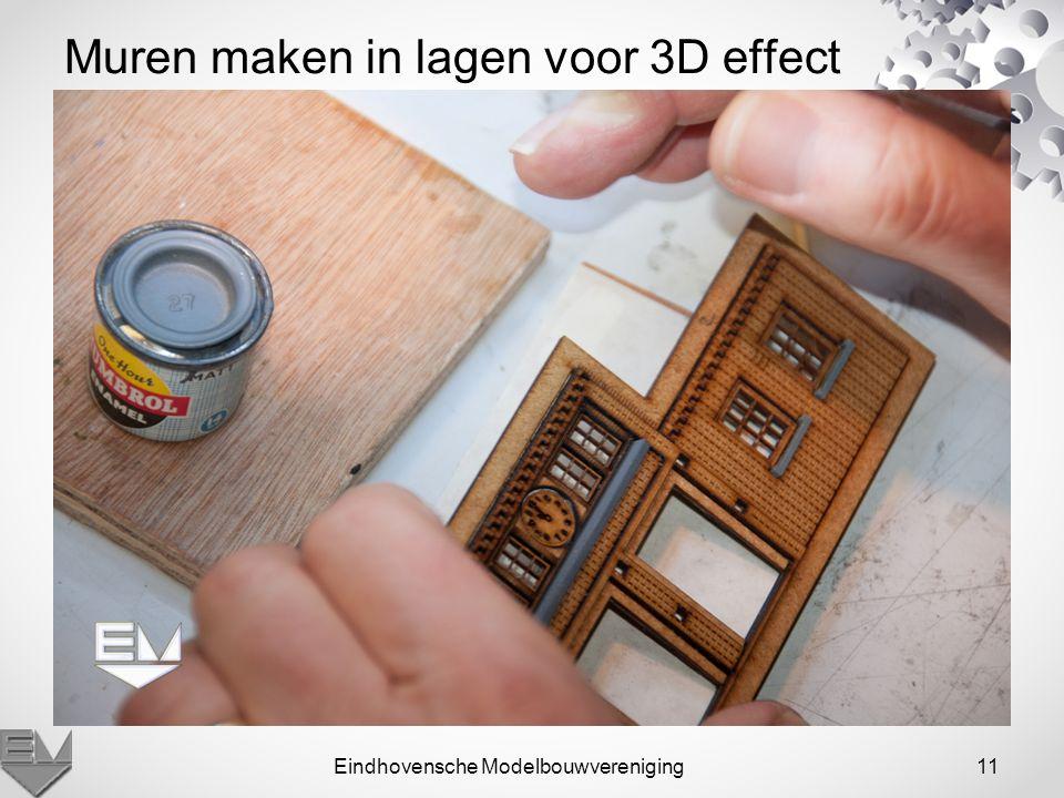 Eindhovensche Modelbouwvereniging11 Muren maken in lagen voor 3D effect