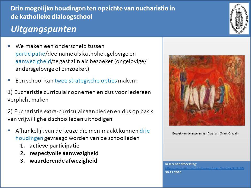 Drie mogelijke houdingen ten opzichte van eucharistie in de katholieke dialoogschool Uitgangspunten Referentie afbeelding: http://www.kuleuven.be/thom
