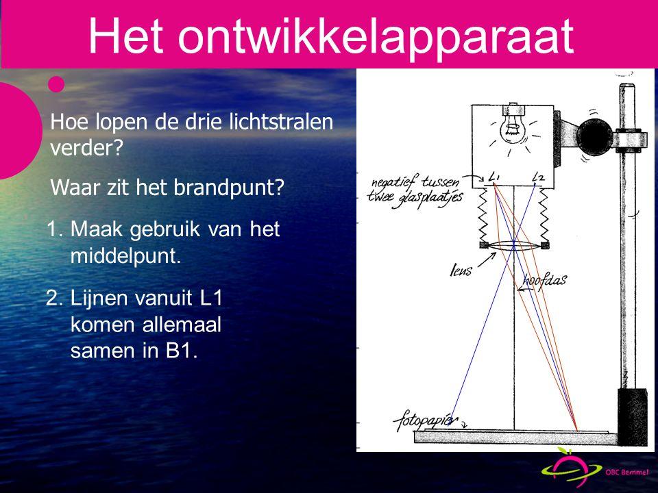 1.Maak gebruik van het middelpunt.2.Lijnen vanuit L1 komen allemaal samen in B1.