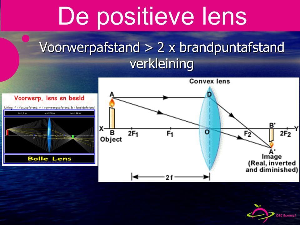 Voorwerpafstand > 2 x brandpuntafstand verkleining De positieve lens