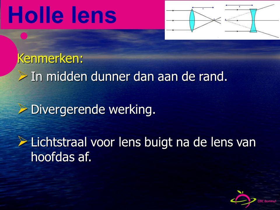 De lenzen Positieve lens Positieve lens Convergerend Convergerend Negatieve lens Negatieve lens Divergerend Divergerend