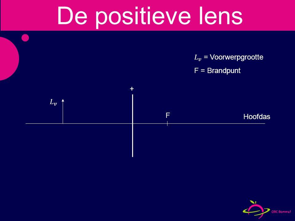 voorwerpafstand = brandpuntafstand Geen beeld De positieve lens