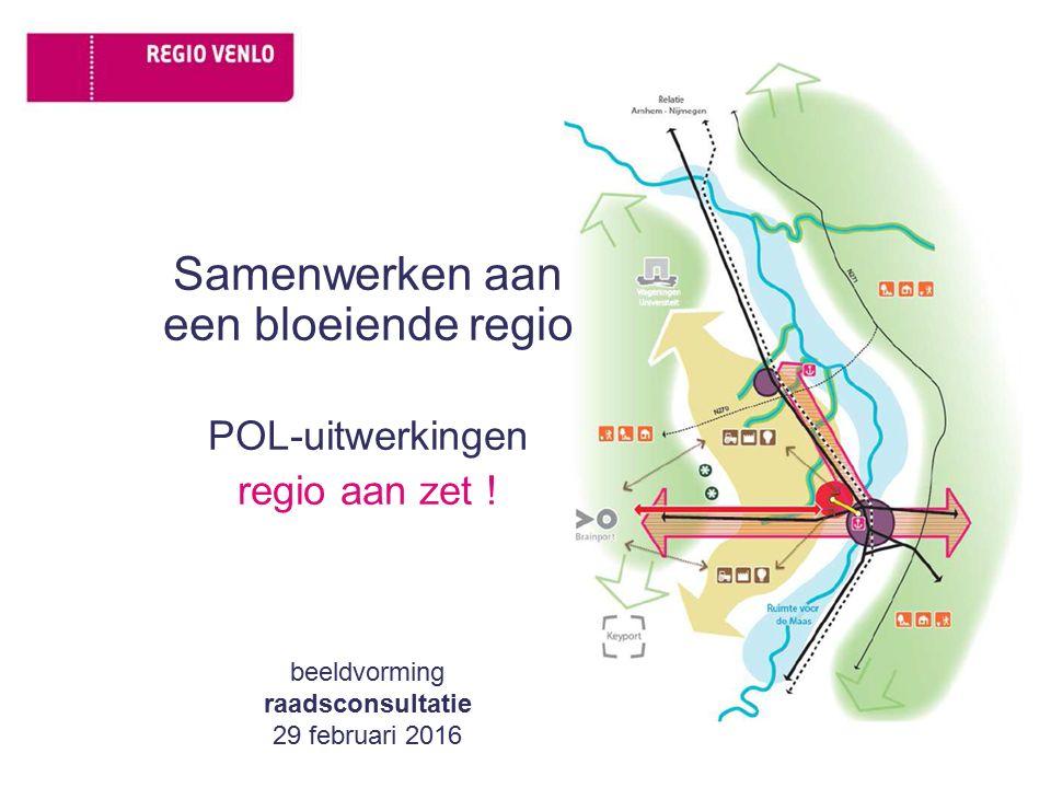 Samenwerken aan een bloeiende regio POL-uitwerkingen regio aan zet ! beeldvorming raadsconsultatie 29 februari 2016