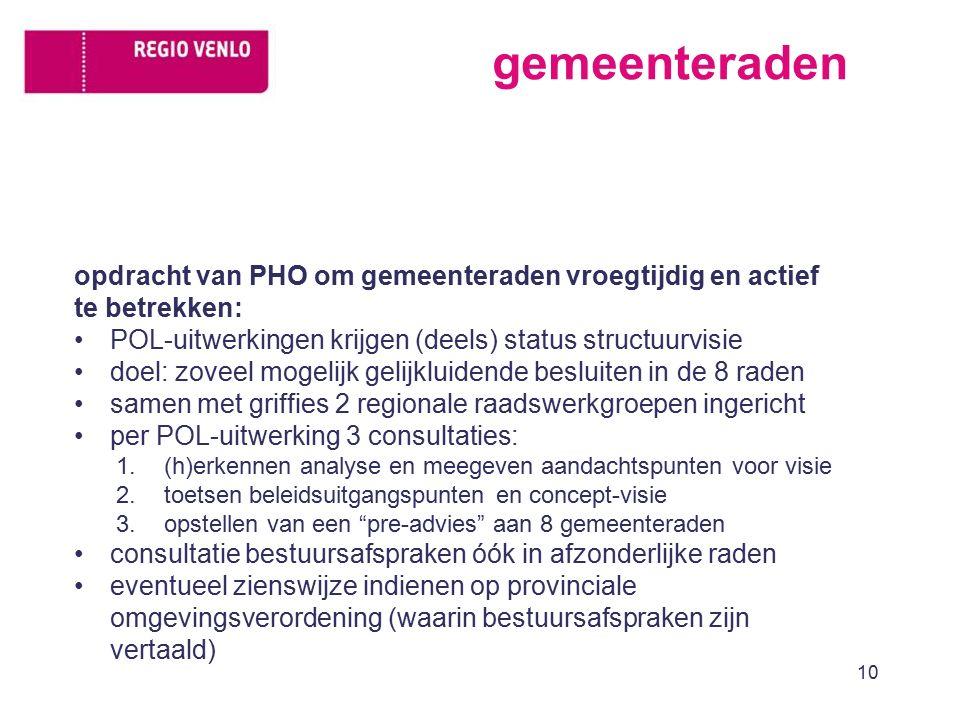 gemeenteraden opdracht van PHO om gemeenteraden vroegtijdig en actief te betrekken: POL-uitwerkingen krijgen (deels) status structuurvisie doel: zovee