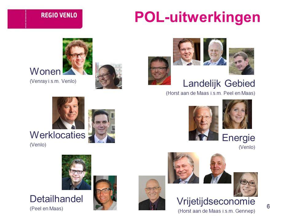 Wonen (Venray i.s.m. Venlo) Werklocaties (Venlo) Detailhandel (Peel en Maas) 6 Landelijk Gebied (Horst aan de Maas i.s.m. Peel en Maas) Energie (Venlo