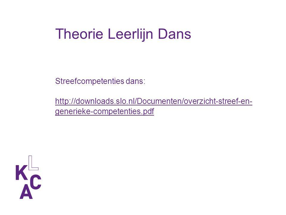 Theorie Leerlijn Dans Streefcompetenties dans: http://downloads.slo.nl/Documenten/overzicht-streef-en- generieke-competenties.pdf