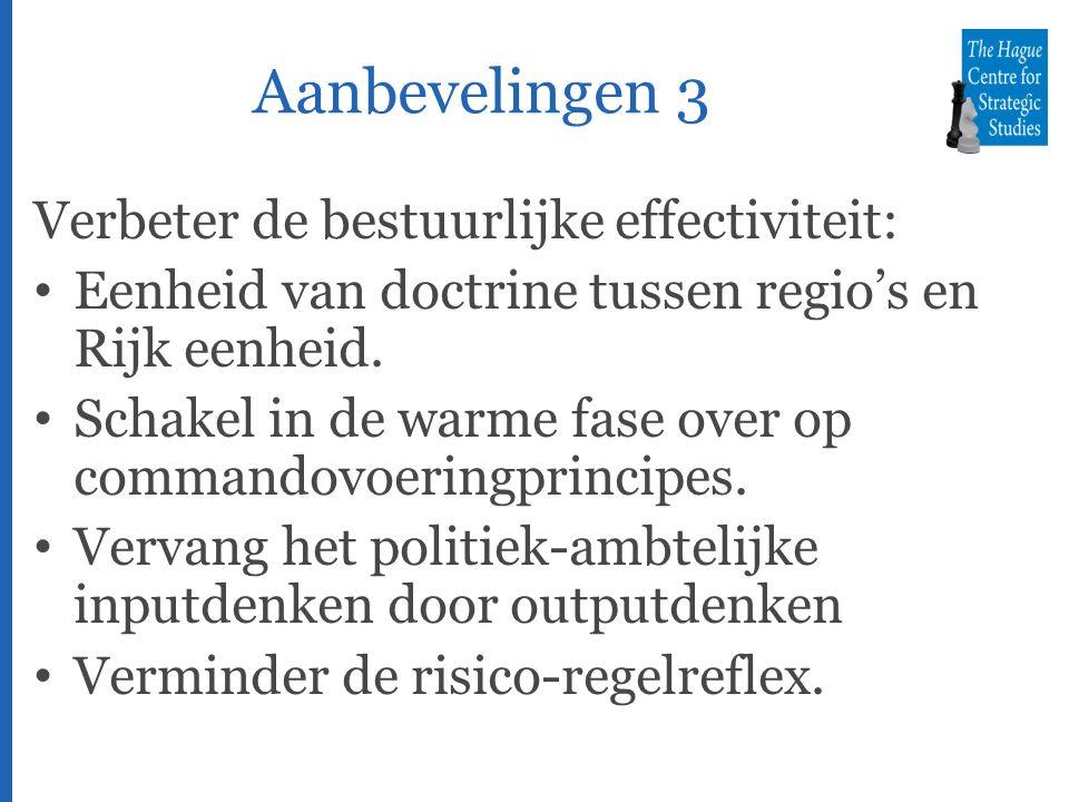 Aanbevelingen 3 Verbeter de bestuurlijke effectiviteit: Eenheid van doctrine tussen regio's en Rijk eenheid.