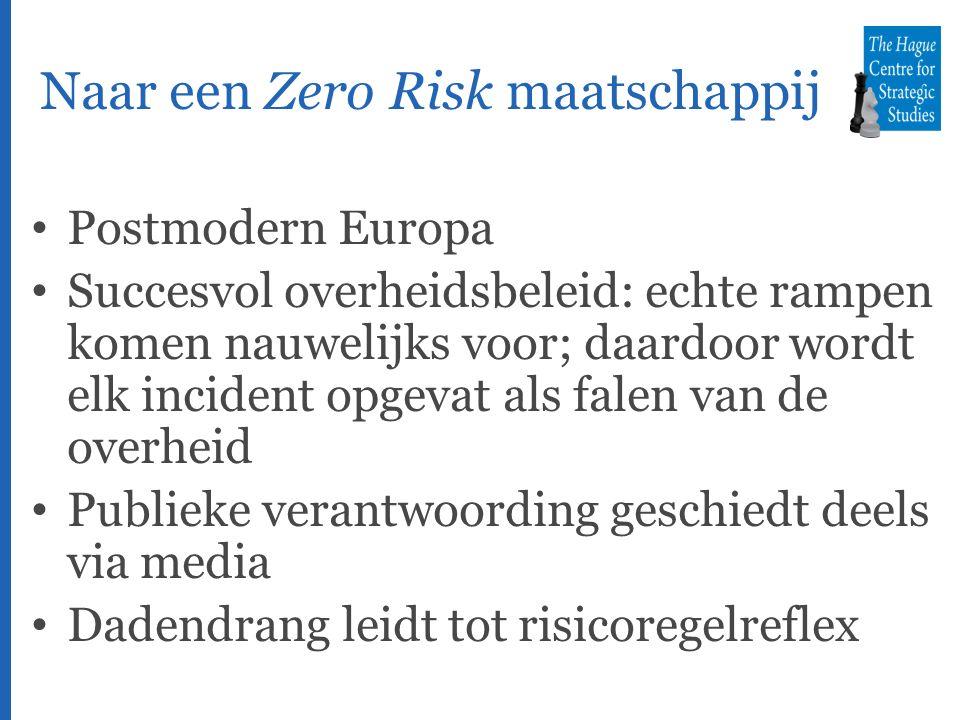 Naar een Zero Risk maatschappij Postmodern Europa Succesvol overheidsbeleid: echte rampen komen nauwelijks voor; daardoor wordt elk incident opgevat als falen van de overheid Publieke verantwoording geschiedt deels via media Dadendrang leidt tot risicoregelreflex