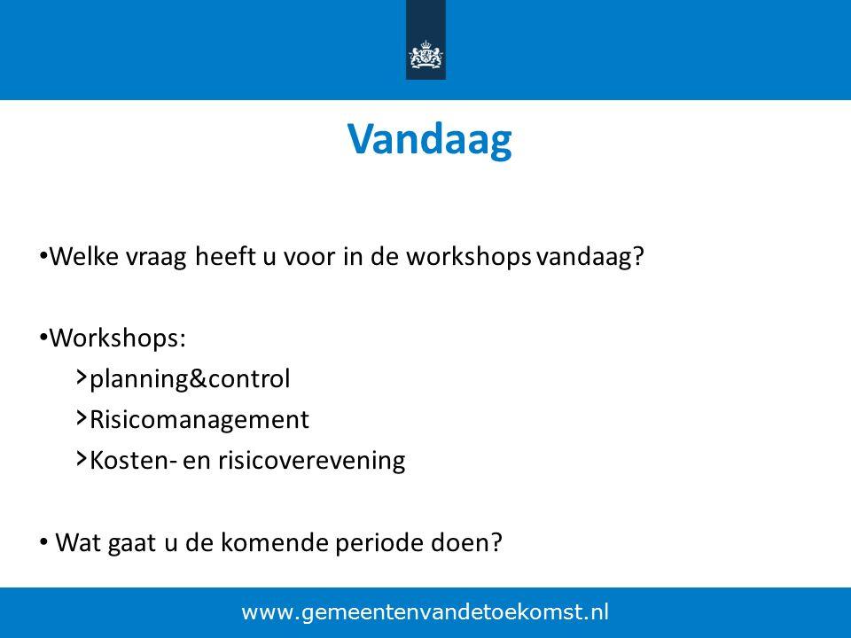 Vandaag Welke vraag heeft u voor in de workshops vandaag? Workshops: › planning&control › Risicomanagement › Kosten- en risicoverevening Wat gaat u de