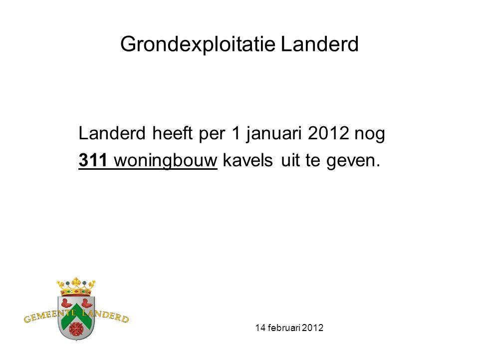 14 februari 2012 0 – situatie Boekwaardes grondexploitaties (woningbouw) zijn geactualiseerd naar prijspeil 1-1-2012 Uitgifte planning niet aangepast aan slechte marktomstandigheden