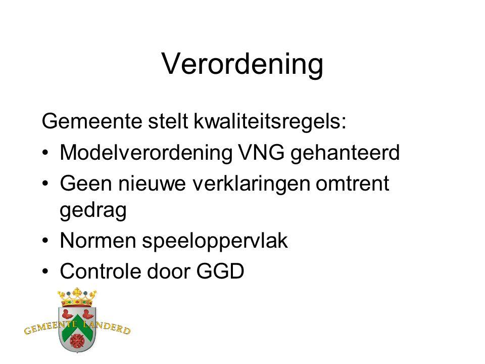 Verordening Gemeente stelt kwaliteitsregels: Modelverordening VNG gehanteerd Geen nieuwe verklaringen omtrent gedrag Normen speeloppervlak Controle door GGD