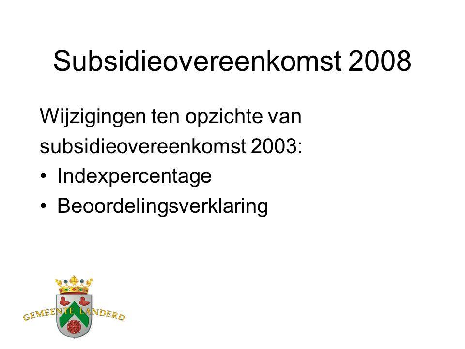 Subsidieovereenkomst 2008 Wijzigingen ten opzichte van subsidieovereenkomst 2003: Indexpercentage Beoordelingsverklaring