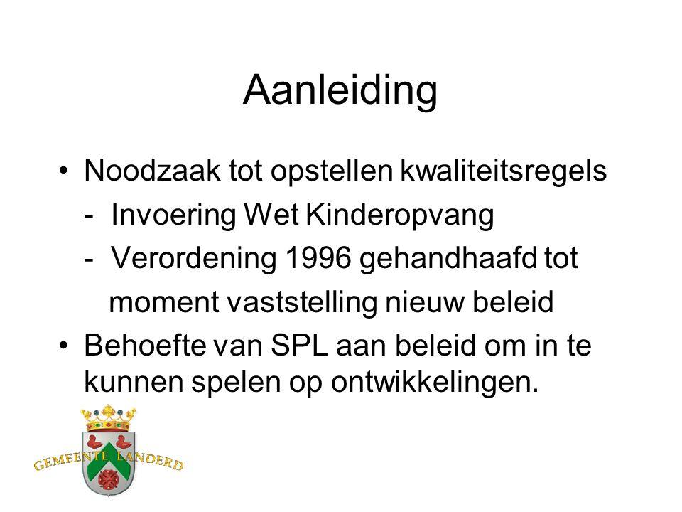 Aanleiding Noodzaak tot opstellen kwaliteitsregels - Invoering Wet Kinderopvang - Verordening 1996 gehandhaafd tot moment vaststelling nieuw beleid Behoefte van SPL aan beleid om in te kunnen spelen op ontwikkelingen.