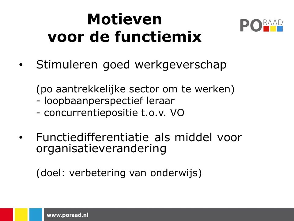 Motieven voor de functiemix Stimuleren goed werkgeverschap (po aantrekkelijke sector om te werken) - loopbaanperspectief leraar - concurrentiepositie t.o.v.