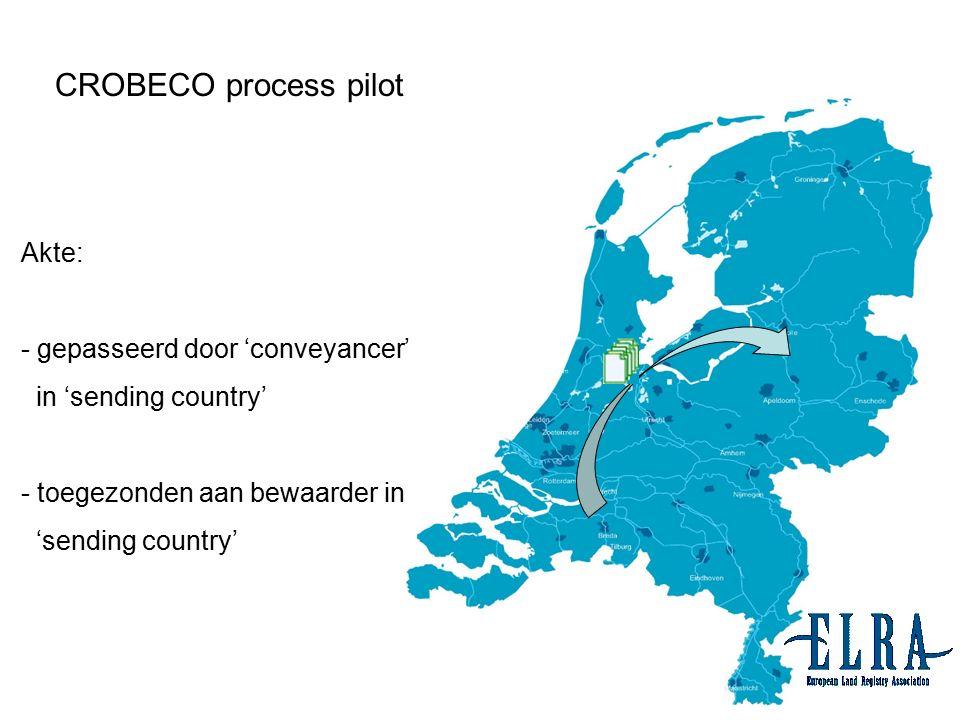 10 Akte: - gepasseerd door 'conveyancer' in 'sending country' - toegezonden aan bewaarder in 'sending country' CROBECO process pilot