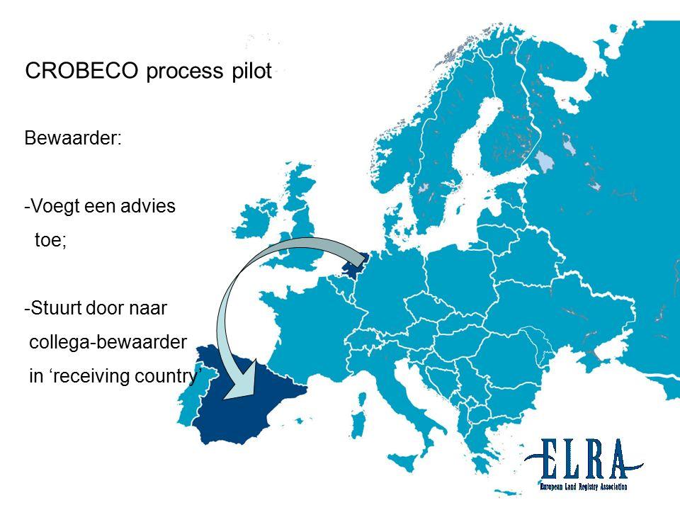 11 Bewaarder: -Voegt een advies toe; -Stuurt door naar collega-bewaarder in 'receiving country' CROBECO process pilot